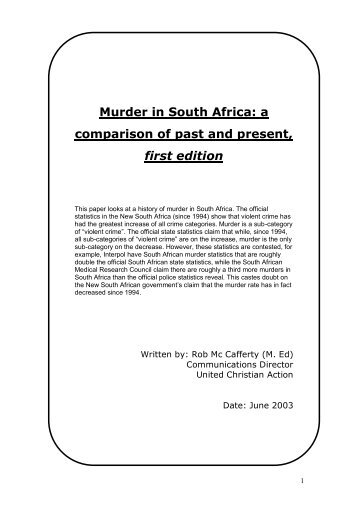Murder in South Africa: a comparison of past and present, first edition