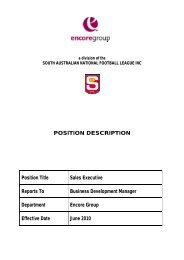 POSITION DESCRIPTION Position Title Sales Executive ... - sanfl