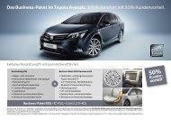 Das Business-Paket im Toyota Avensis: 100% Komfort mit 50 ...
