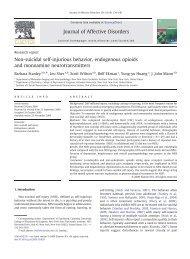 Non-suicidal self-injurious behavior, endogenous opioids and ...