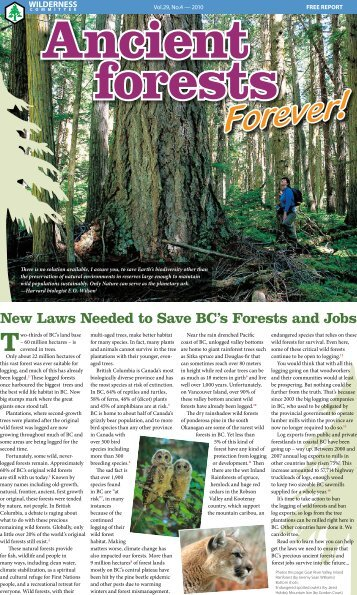 end the logging of old-growth forests province wide. - Wilderness ...