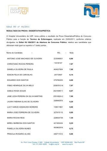 Edital HU nº 44/2011 - Hospital Universitário – USP