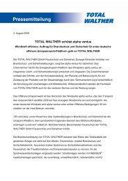TOTAL WALTHER schützt alpha ventus Windkraft offshore: Auftrag