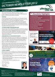 2012 October eNewsletter - Petroleum Club Of WA