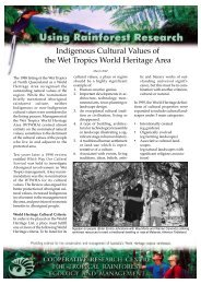 Indigenous Cultural Values of the Wet Tropics World Heritage Area