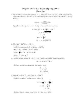 Physics 262 Final Exam (Spring 2003) Solutions