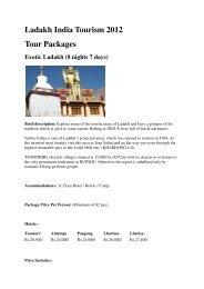 Ladakh India Tourism 2012 Tour Packages