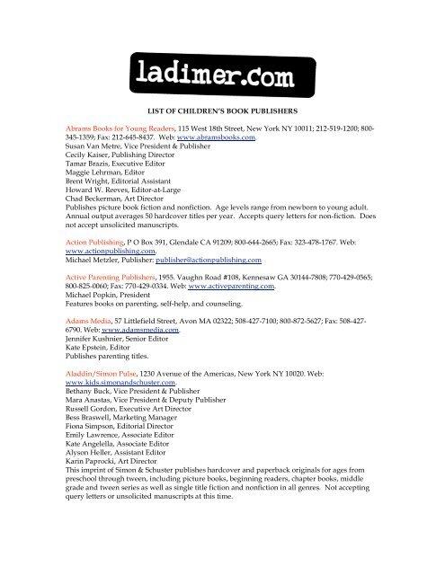 List Of Children S Book Publishers Abrams Ladimer Com