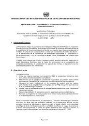 organisation des nations unies pour le developpement ... - unido