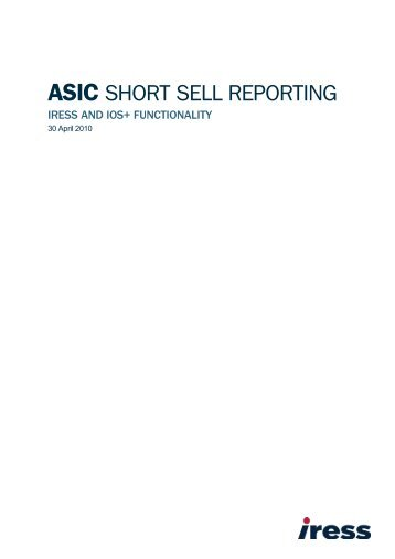 ASIC SHORT SELL REPORTING - IRESS