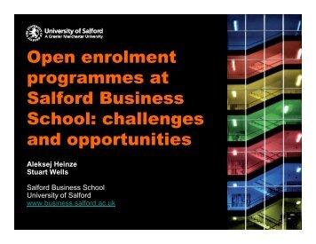 Open enrolment programmes at Salford Business School ... - ECE