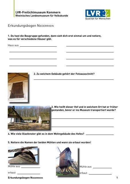 Erkundungsbogen NIEDERRHEIN - RheinischeMuseen.de