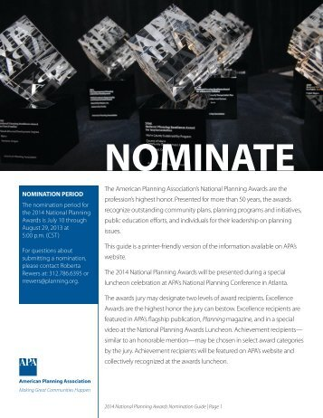 Print Nomination Guide (pdf) - American Planning Association