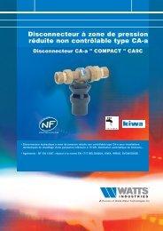 Disconnecteur à zone de pression réduite non ... - Watts Industries