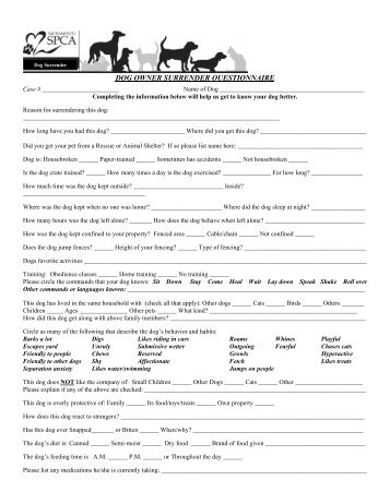 SSPCA DOG OWNER SURRENDER QUESTIONNAIRE