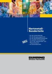 Hartmetall- Sonderteile - Gühring oHG