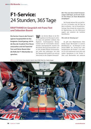 F1-Service: 24 Stunden, 365 Tage