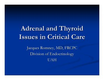 Adrenal and Thyroid Issues in Critical Care - CriticalCareMedicine