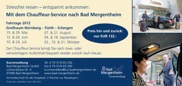 Mit dem Chauffeur-Service nach Bad Mergentheim