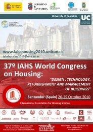 37º IAHS World Congress on Housing: - Universidad de Cantabria