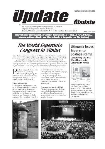 Ĝisdate 31, oktobro-decembro 2005 - Esperanto Association of Britain