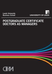 PG Cert Doctors as Managers - Centre for Innovation in Health ...