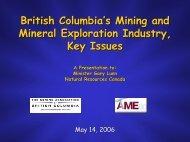 British Columbia's Mining and Mineral Exploration ... - Geoscience BC