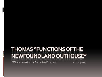 Functions of the Newfoundland Outhouse - Faculty Web Pages