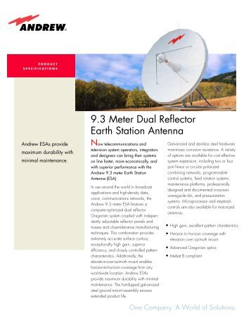 9.3 Meter Dual Reflector Earth Station Antenna