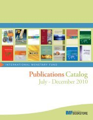 IMF Publications Catalog: July - December 2010 - Renouf Books