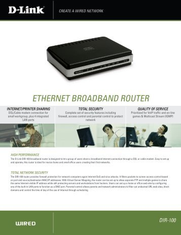 ETHERNET BROADBAND ROUTER - D-Link