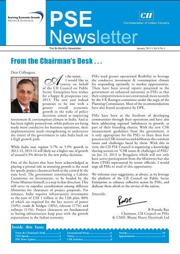 PSE Bi-monthly Newsletter - January, 2013, Vol 4, No 1 - CII