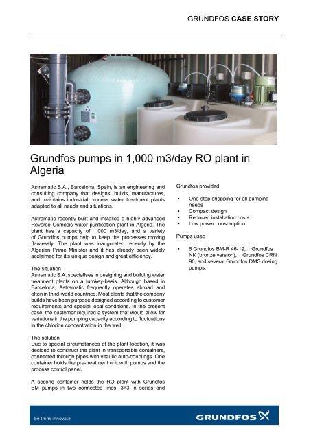 Grundfos pumps in 1,000 m3/day RO plant in Algeria