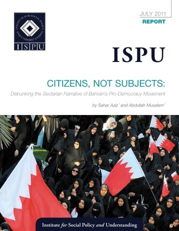 Citizens, not subjeCts: - Institute for Social Policy and Understanding