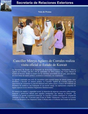 Canciller Mireya Agüero de Corrales realiza visita oficial al Estado ...
