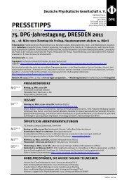 DPG-Tagung DRESDEN 2011 - Deutsche Physikalische Gesellschaft