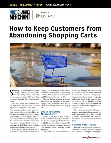 How to Keep Customers from Abandoning Shopping Carts