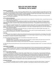 BGA-223 SOLDER CREAM TECHNICAL DATA SHEET