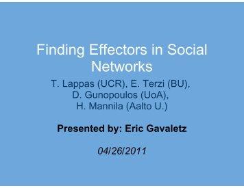 Finding Effec Netw ctors in Social ctors in Social works