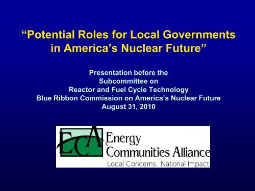 """""""Potential Roles for Local Governments in America's Nuclear Future"""""""