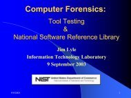 Tool Testing and the National Software Reference Library