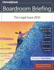 The Legal Issue 2010 - Directors & Boards