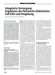 Ergebnisse des Netzwerks Diabetischer Fuß Köln und Umgebung