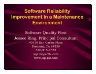 Software Reliability Improvement In a Maintenance ... - Sematech