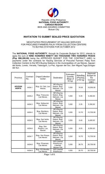 To Submit Sealed Price Quotation  Nfa