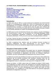 Introduction Domaines d'intervention du FEM - Département de l ...