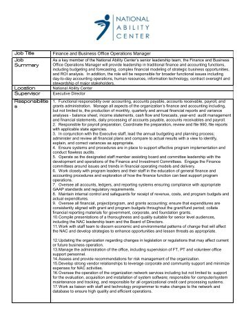 Job Title Finance and Business Office Operations Manager Job ...