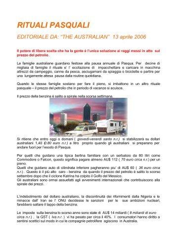 RITUALI PASQUALI - Associazione Italia-Australia
