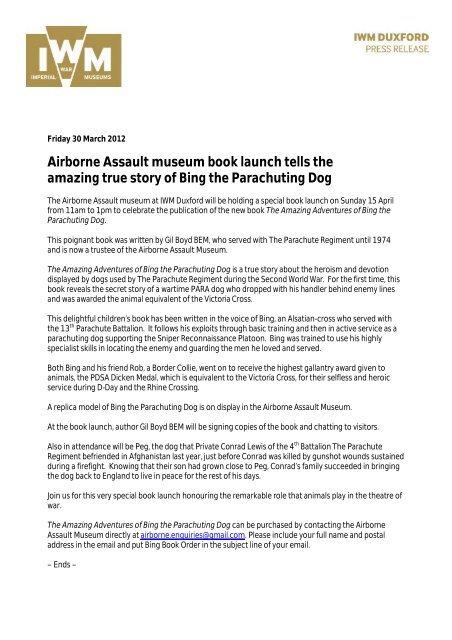 PRESS RELEASE Bing the Parachuting Dog book launch