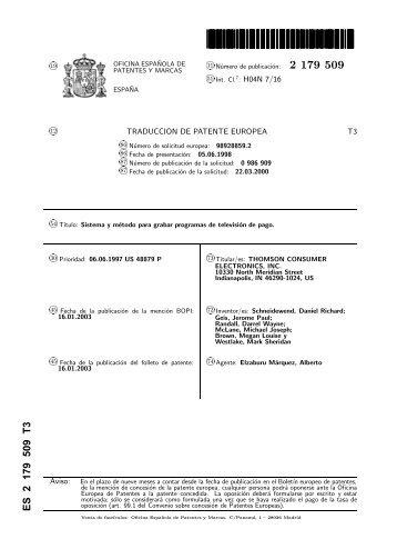 2179509 . T3 - Oficina Española de Patentes y Marcas